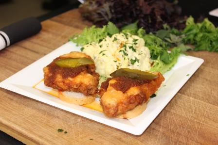 Hot catfish and southern potato salad peoples gas blog heres a spicy take on a southern favorite from chef tony watch the video and get the recipe for this latest game day grub meal hot catfish served with forumfinder Images