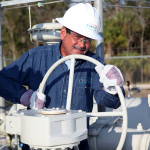George Halpern with Peoples Gas at a natural gas pipeline.
