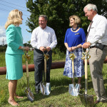 From left, at the Green Cove Springs gas project groundbreaking: Diane Hutchings, Clay County Commissioner; Gordon Gillette, president of Tampa Electric and Peoples Gas; Pamela Lewis, mayor of Green Cove Springs; and Darrell LeSage, president of VacCon.