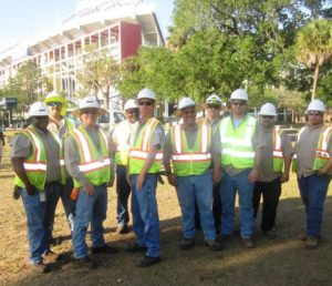 TECO Peoples Gas volunteers who helped put the smack down on litter before, during and after WrestleMania 33. Seen here, from left to right: Nate Morris, Bryan Hewitt, Doug Mackey, Tonny Johnson, Bruce Tinsley, Joe Mezzatesta, Jason Mock, Matt Hoffman, Steven Rodriguez and Mark Storer. Not pictured: Clynnie Wynn.