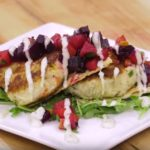 Crab cake stack and beet salad